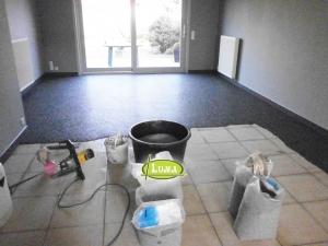 Renovatie living epoxyvloer